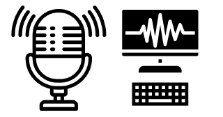 Icons of microphone and computer